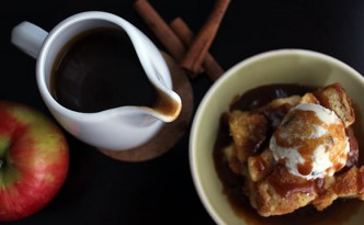 Apple Brioche Bread Pudding and Caramel Sauce